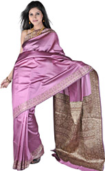 Mulberry-Pink Plain Banarasi Sari with Floral Weave on Border and Aanchal