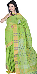 Lime-Green Dhakai Sari from Kolkata with Hand-woven Paisleys and Flowers