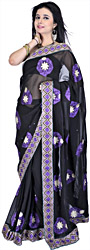 Black Designer Sari with Metallic Thread Embroidered Flowers and Patch Border