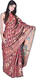 Garnet-Red Banarasi Sari with All-Over Woven Flowers and Brocaded Aanchal