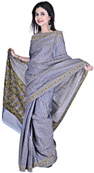 Flint Stone-Blue Kora Cotton Sari from Banaras with All-Over Floral Weave by Hand