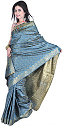 Green Banarasi Sari with Tanchoi Weave and Brocaded Aanchal