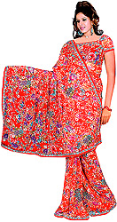 Ribbon-Red Sari with Printed Flowers All-Over