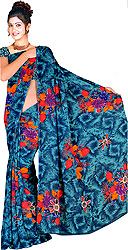 Sari from Surat with Large Printed Flowers All-Over