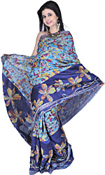 Blue Atoll Printed Sari from Kolkatta with Metallic Thread Embroidered Flowers