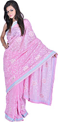 Powder-Pink Sari with Self-Colored Embroidery and Patch Border