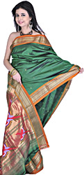 Islamic-Green Authentic Paithani Sari with Birds in Flight Hand-woven on Anchal