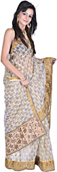 Beige Printed Kota Sari with Tissue Border