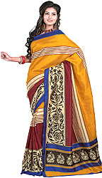 Tri-Color Sari with Arabesque Print