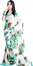 Cream Floral Printed Sari with Patch Border