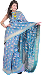 Delphinium-Blue Banarasi Sari with Hand-woven Flowers in Golden Thread