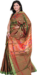 Golden-Green Paithani Sari with Hand Woven Peacocks on Aanchal