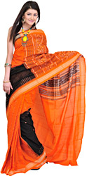 Orange-Black Bomkai Sari from Orissa with Hand-woven Bootis