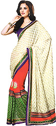Multi-color Designer Wedding Sari with Woven Polka Dots and Patch Border