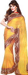 Beeswax-Yellow Designer Sari with Heavy Embroidered Patch Border