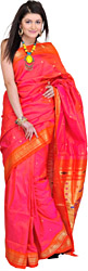 Hot-Pink Paithani Sari with Hand Woven Peacocks on Aanchal