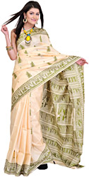Crème-Brulee Baluchari Sari with Hand Woven Mythological Episodes