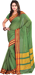 Fairway-Green Two-Tone Naraynpet Sari with Temple Border