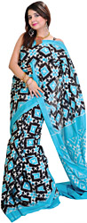Scuba Blue-Black Sari from Pochampally with Double-Ikat Weave