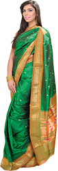 Dark-Green Paithani Sari with Hand-woven Peacocks on Aanchal