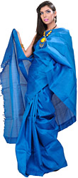 Plain Methyl-Blue Kanjivaram Sari from Tamil Nadu