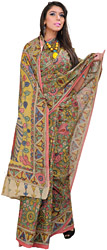 Amber-Green Floral Kalamkari Sari from Telangana with Printed Peacocks on Aanchal