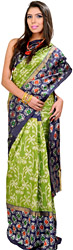 Peridot-Green and Blue Patola Handloom Sari from Pochampally with Ikat Weave