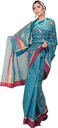 Teal Green Handloom Chanderi Sari With All-over Woven Paisleys