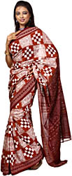 Sierra-Brown Sambhalpuri Sari from Orissa with Ikat Woven Checks