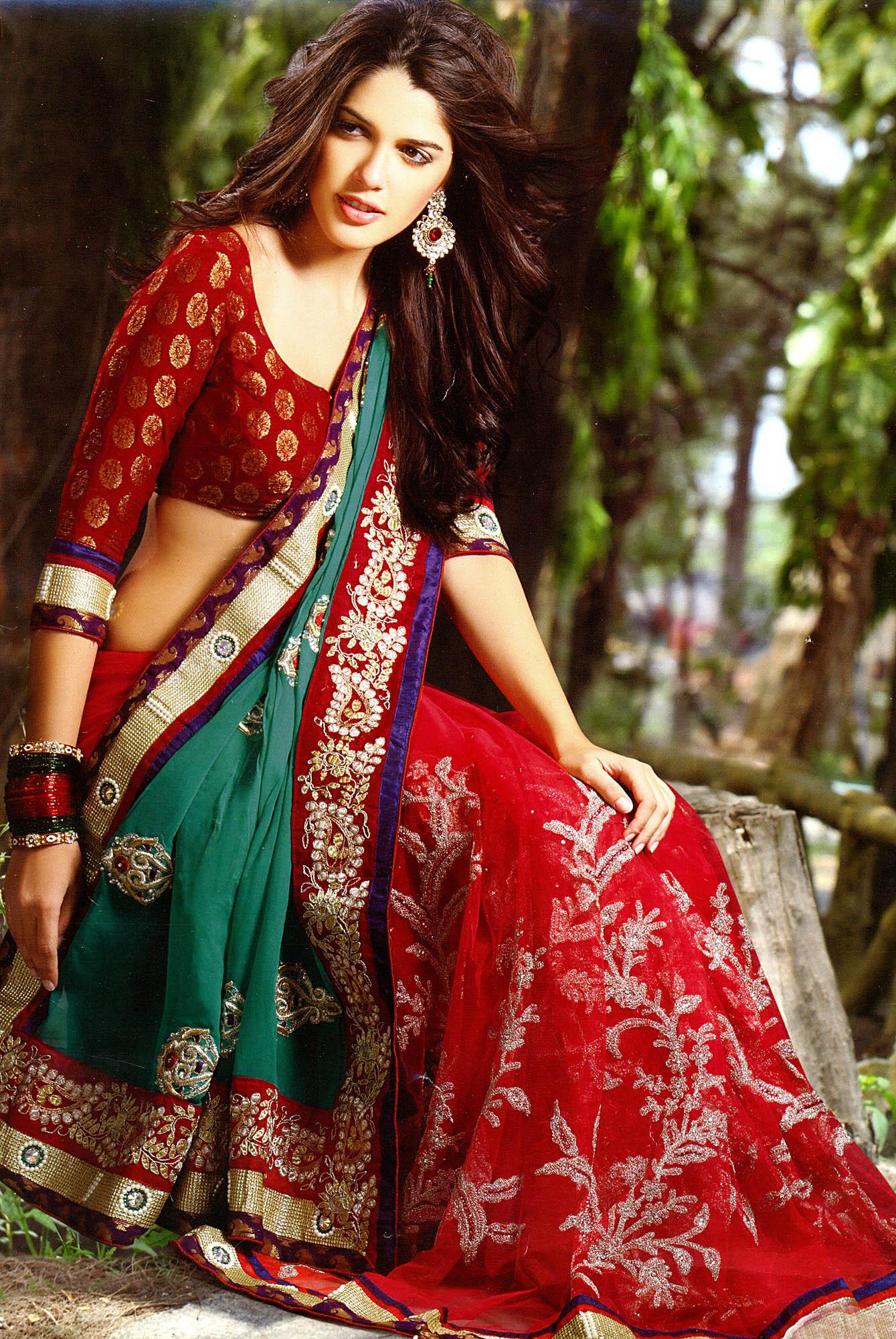 Tango Red And Green Designer Sari With Metallic Thread