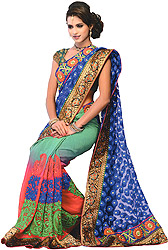 Tri-Color Wedding Sari with Patchwork and Woven Bootis