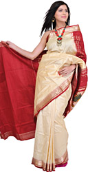 Vanilla and Red Paithani Sari with Hand-Woven Lotus Flowers and Swans
