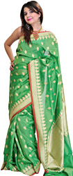 Vibrant-Green Banarasi Sari with Woven Booties and Brocaded Pallu