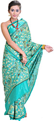 Vibrant-Green Kantha Sari from Bengal with Hand-Embroidered Peacocks and Leaves