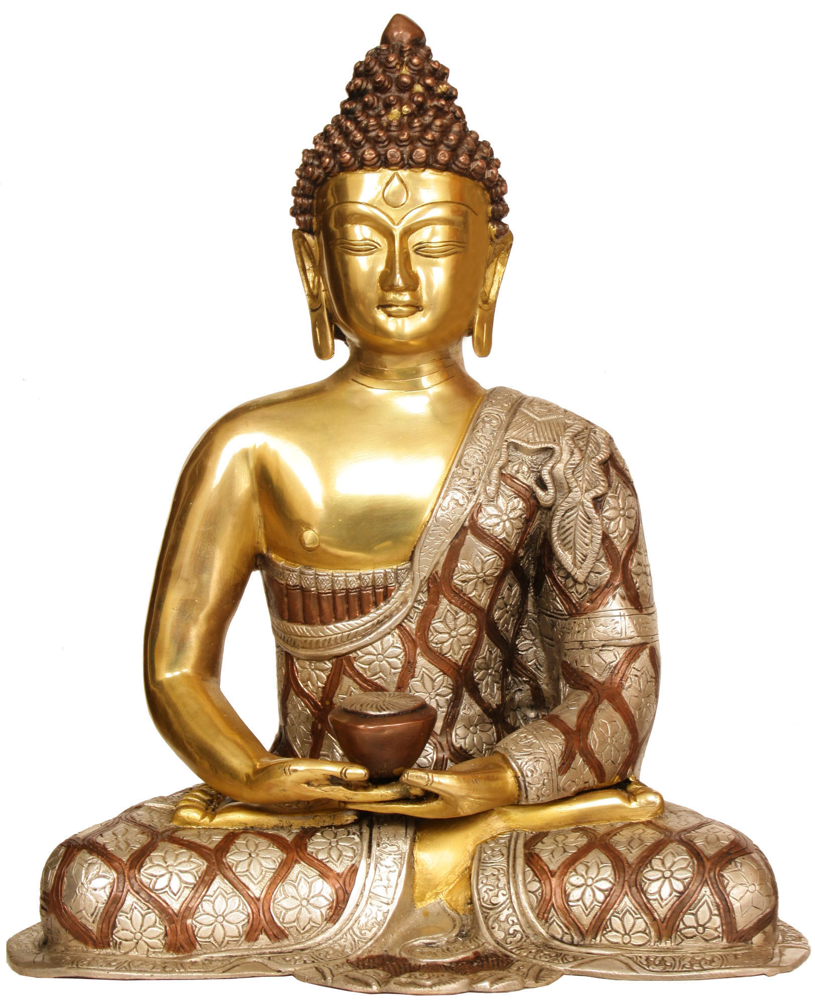 Lord Buddha In Dhyana Mudra Robes Decorated With Lotus Flowers
