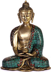 Buddha In Dhyana Mudra with Pindapatra (Robe Inlaid with Gemstones)