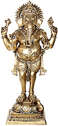 Four Armed Standing Ganesha with Short Dhoti