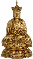 Japanese Buddha with Five Dhyani Buddhas Crown