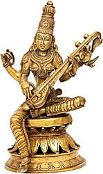 Goddess Saraswati Playing Veena