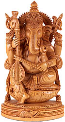 Seated on Conch Lord Ganesha Plays a Musical Instrument