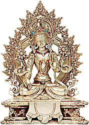 Enthroned Goddess White Tara