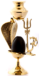 Assembly to Bath Shiva Linga with Dripping Vase for Milk or Water