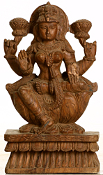 Four Armed Goddess Lakshmi Seated on Lotus Throne