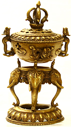 Monastery Incense Burner with Dragon Handles, Dorje Knob and Supported by Elephant Heads