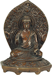 Lord Buddha Seated on Chowki in Abhaya Mudra