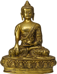 The Lord Buddha in Bhumisparsha Mudra  (Robes Decorated with the Scenes from His Life)