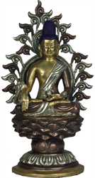Bhaishajyaguru - The Medicine Buddha Seated High on Lotus Pedestal