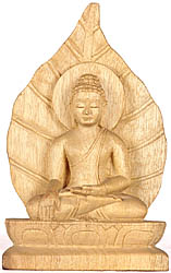 Lord Buddha Seated in Bhumisparsha Mudra in the Backdrop Pipal Leaf