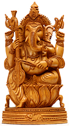 Lord Ganesha Playing a Musical Instrument