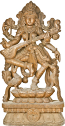 Four Armed Dancing Saraswati with Peacock Pair